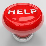 Help panic button. 3d render of red help panic button Stock Images