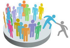 Help person join people members group. A friend helps a person join a company club team or other group Stock Photography