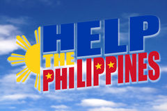 Help The Philippines. A message of Help The Philippines illustration on a clear blue sky royalty free illustration