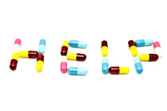 HELP pills letter Royalty Free Stock Images