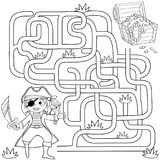 Help pirate find path to treasure chest . Labyrinth. Maze game for kids. Black and white vector illustration for coloring book. Vector illustration Stock Photos