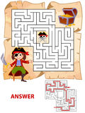 Help pirate find path to treasure chest . Labyrinth. Maze game for kids. Vector illustration Stock Images