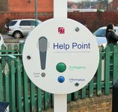 Help point. Emergency help and information at the Newark castle train station in Newark Nottinghamshire Royalty Free Stock Photography