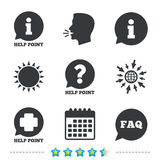 Help point icons. Question, information symbol. Stock Images