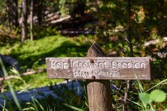 Help prevent erosion sign posted along the Grand Canyon area of Yellowstone Park royalty free stock photos