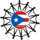 Help Puerto Rico. People all around the world helping Puerto Rico after a Hurricane royalty free illustration