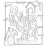 Help puppy find path to his house. Labyrinth. Maze game for kids. Black and white vector illustration for coloring book Stock Photos