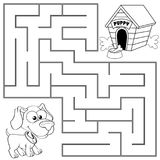 Help puppy find path to his house. Labyrinth. Maze game for kids. Black and white vector illustration for coloring book vector illustration