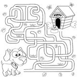 Help puppy find path to his house. Labyrinth. Maze game for kids. Black and white vector illustration for coloring book royalty free illustration