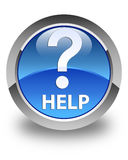 Help (question icon) glossy blue round button Royalty Free Stock Images