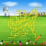 Help the rabbit to find the carrot!. Illustration of Help the rabbit to find the carrot Stock Image