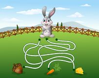 Help the rabbit to find the carrot. Illustration of Help the rabbit to find the carrot Royalty Free Stock Photography