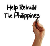 Help Rebuild The Philippines. Hand writing Help Rebuild The Philippines, isolated on white background Stock Images