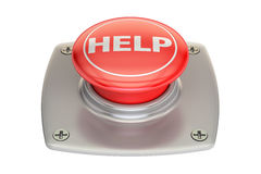 Help red button, 3D rendering. On white background Royalty Free Stock Photography