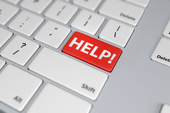 Help red button on white keyboard. Assistance concept image. 3D rendering Stock Photos