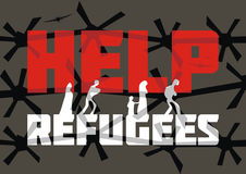 Help refugees banner. The propaganda poster about refugees and illegal migrants. Vector illustration Stock Photo