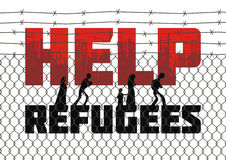 Help refugees poster. The propaganda poster about refugees and illegal migrants. Vector illustration Stock Images