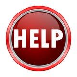 Help round metallic red button. Vector icon Royalty Free Stock Photos
