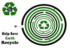 Help Save Earth Recycle Round Maze. Maze Illustration to help save the earth by moving earth through the maze to the recycle symbol Stock Image