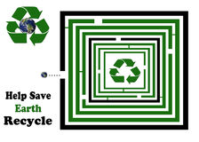 Help Save Earth Square Recycle Maze. Maze Illustration to help save the earth by moving earth through the maze to the recycle symbol Royalty Free Stock Image