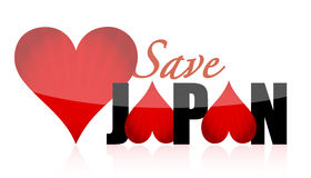 Help save japan. Hearts illustration design isolated over a white background Stock Images