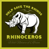 Help save and protect the endangered Rhinos from illegal hunting icon emblem. Stock Photo