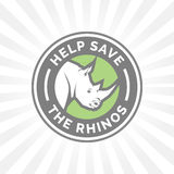 Help save the Rhinos from illegal hunting icon emblem Stock Photo