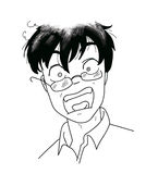 Help! scared man. Black and white illustration of a very scared man. Manga style Royalty Free Stock Photography