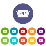Help set icons. In different colors isolated on white background Stock Photography