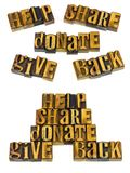 Help share donate give back letterpress Royalty Free Stock Photos