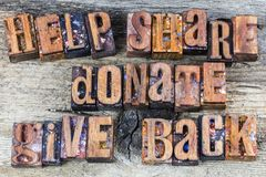 Help share donate give back sign royalty free stock images