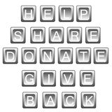 Help share donate in keyboard letters Stock Image