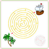 Help the ship go through a maze and find tropical island with pa Stock Image