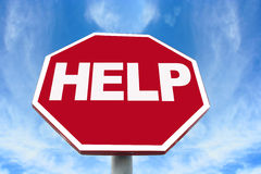 Help sign. On an octagonal stop sign background Stock Photography