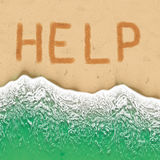 Help Sign on the beach. Stock Photography