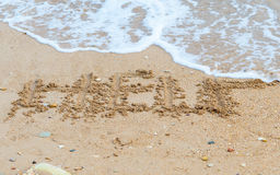 Help. Sign on the beach Royalty Free Stock Photography