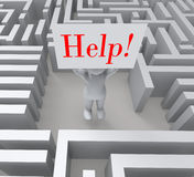 Help Sign Shows Lost In Maze Royalty Free Stock Photos