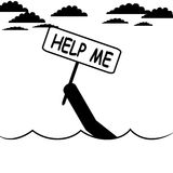Help sign. Vector , illustration. A man is asking for help Stock Photography
