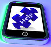 Help On Smartphone Shows Advice Stock Image