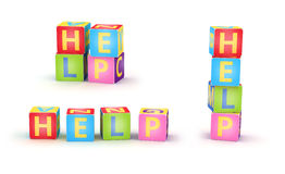 HELP spelled by abc cubes. Word HELP spelled by abc cubes  on white background Stock Images