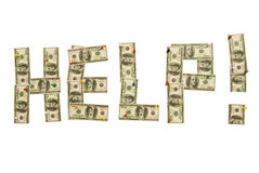 Help Spelled Out in Hundreds. One hundred dollar bills are used to spell out the work HELP Royalty Free Stock Photo