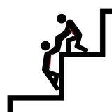 Help with steps. Vector / illustration. Team work to climb the gib stairs Royalty Free Stock Photography