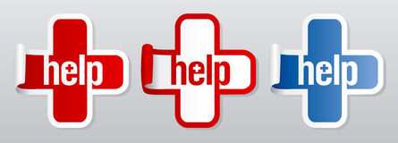Help stickers. Royalty Free Stock Photo