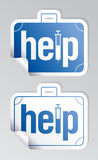 Help stickers set. Help, first aid stickers set Royalty Free Stock Photos