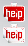 Help stickers set. Help, first aid stickers set Royalty Free Stock Image