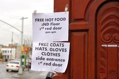 Help after the super storm Sandy. People get free hot food and clothed Royalty Free Stock Photos