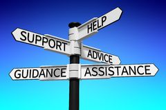 Help, support, advice, guidance, assistance signpost... Royalty Free Stock Photography