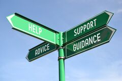 Free Help, Support, Advice, Guidance - Green Signpost With For Arrows Stock Photo - 184690380