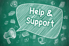 Help And Support - Cartoon Illustration on Blue Chalkboard. Royalty Free Stock Image