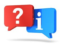 Help and support concept. Creative business help, support and assistance concept: group of color red and blue speech balloons with question symbol and Stock Photo